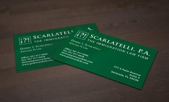 Scarlatelli business card design - Bradley L'Herrou