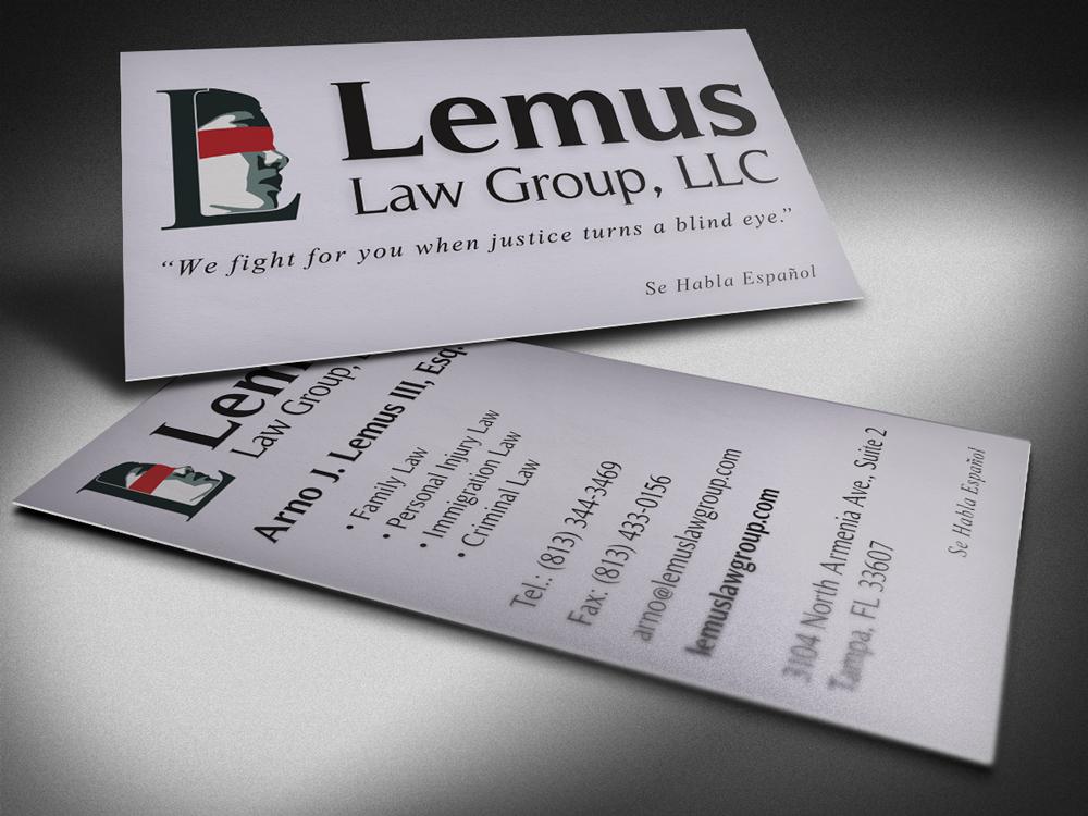 Lemus Law Group business card design - Bradley L'Herrou