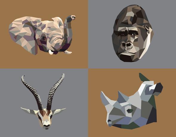 low-poly African animal vectors from Bradley L'Herrou