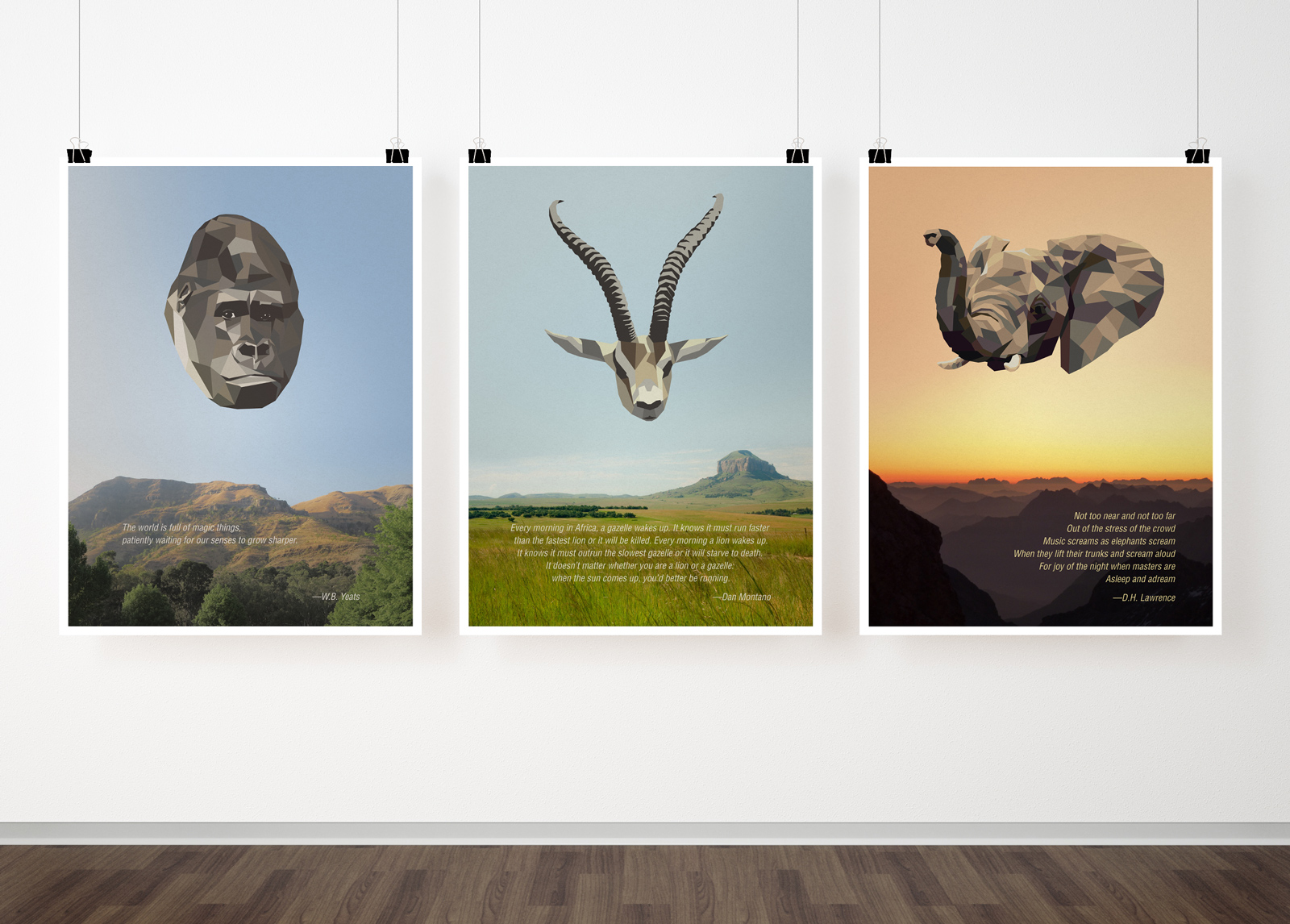 Safari animals in a low-poly style on landscapes with inspirational quotes